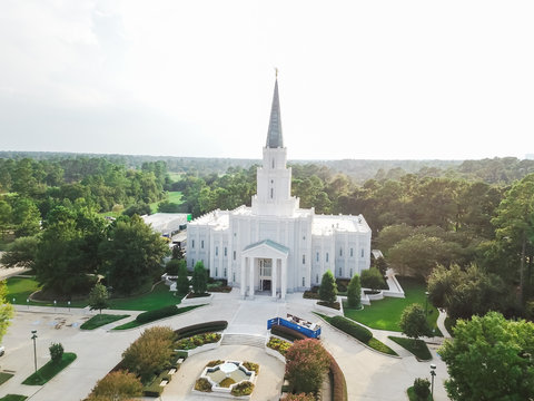 Aerial view of Mormon Temple - The Houston Texas Temple is the 97th operating temple of The Church of Jesus Christ of Latter-day Saints.