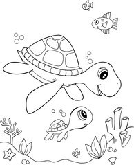 Door stickers Cartoon draw Cute Sea Turtle Vector Illustration Art