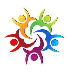 Teamwork colorful people raising hands, vector logo
