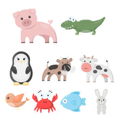 Animals set icons in cartoon style. Big collection of animals vector symbol stock illustration