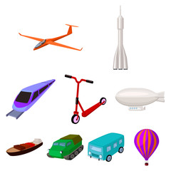 Set of pictures about types of transport. Transportation of people, cargo. Ground, underwater, air transport. Transport icon in set collection on cartoon style vector symbol stock illustration.