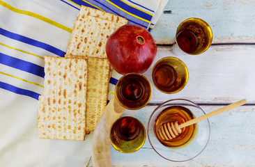The traditional Jewish holiday Rosh HaShanah Jewish New Year concept.