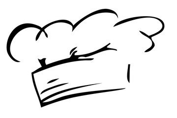 Hand Draw Sketch of Chef Hat, Isolated on White