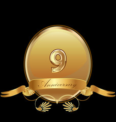 9th golden anniversary birthday seal icon vector