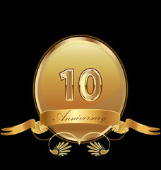 10th golden anniversary birthday seal icon vector
