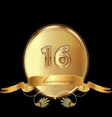 16th golden anniversary birthday seal icon vector