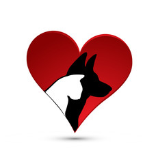 Cat and Dog silhouette inside love heart, icon vector