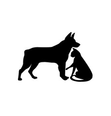 Black silhouette of dog and cat isolated on white icon vector