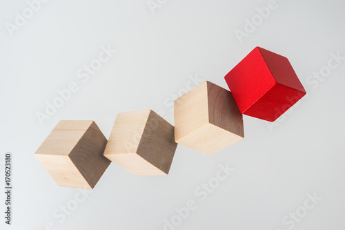 Business Concept Abstract Geometric Real Floating Wooden Cube On