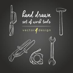 Hand drawn vector working tools on the blackboard.DIY tools