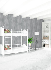 Modern loft interior baby room or nursery with eclectic wall with space. 3D rendering.