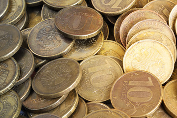 Background from ten-ruble coins
