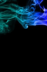 Abstract Light blue smoke on black background, Light blue background,Light blue ink on black background