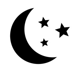 Crescent moon with stars at night, evening or nighttime flat vector icon for apps and websites