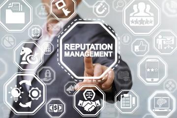 Reputation Management Branding Customer Relationship Business Strategy Development concept. Manager presses reputation management text button on a virtual interface.