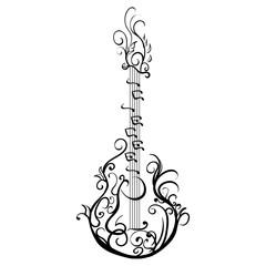 Stylized classical guitar. Retro guitar Tattoo