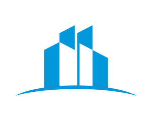 blue silhouette building residence architecture image icon vector