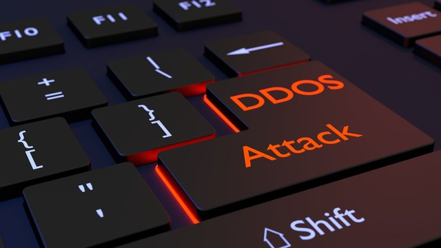 Distributed denial of service black keyboard with DDOS enter key