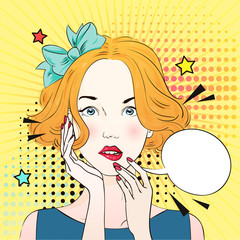 Pop Art Vintage poster comic girl thinks about something and scared . Comic woman with speech bubble. Vector illustration