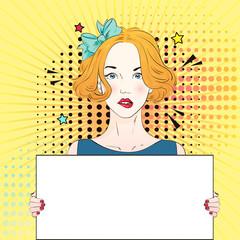 Pop Art Vintage advertising poster comic girl holds a white banner. Vector illustration