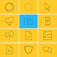 Vector Illustration Of 12 Web Icons. Editable Pack Of Privacy Doc, Refresh, Cloud Download And Other Elements.