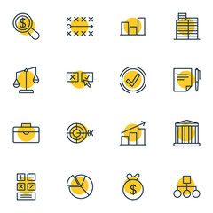 Vector Illustration Of 16 Trade Icons. Editable Pack Of Agreement, Magnifier, House And Other Elements.