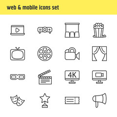 Vector Illustration Of 16 Cinema Icons. Editable Pack Of Spectacles, Television, Coupon And Other Elements.