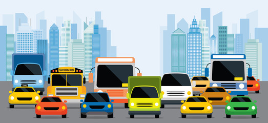 Vehicles on Road with Traffic Jam, Front View with City Background