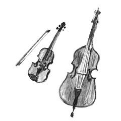 Vintage violin and violoncello. Black and white
