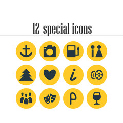 Vector Illustration Of 12 Check-In Icons. Editable Pack Of Skittles, Refueling, Masks And Other Elements.
