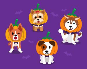 Set of cartoon happy halloween cute dogs
