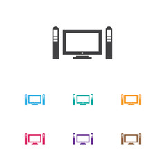 Vector Illustration Of Movie Symbol On Television Icon. Premium Quality Isolated Home Cinema Element In Trendy Flat Style.