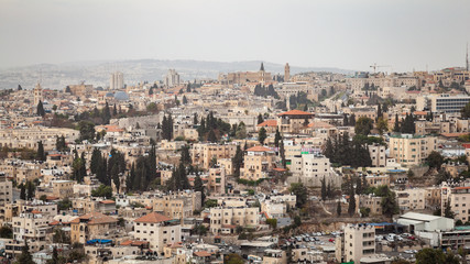 Canvas Prints Middle East Skyline cityscape of Jerusalem, Israel in the Middle East with many buildings, old historic architecture and landmarks. / Jerusalem Skyline Cityscape