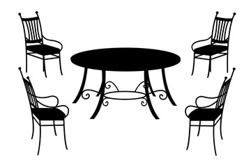 Table and chairs, isolated black silhouette on white, vector illustration