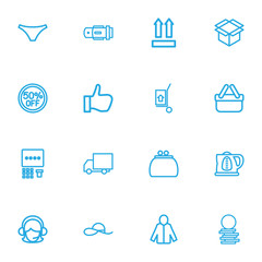 Set Of 16 Editable Business Outline Icons. Includes Symbols Such As 50 Sale, Kettle, Money Purse And More. Can Be Used For Web, Mobile, UI And Infographic Design.
