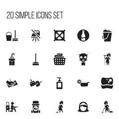 Set Of 20 Editable Cleaning Icons. Includes Symbols Such As Cold Water, Pail, Respirator And More. Can Be Used For Web, Mobile, UI And Infographic Design.