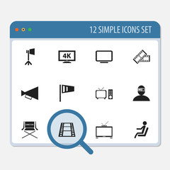 Set Of 12 Editable Movie Icons. Includes Symbols Such As Camera Strip, Hd Television, Pennant And More. Can Be Used For Web, Mobile, UI And Infographic Design.