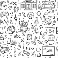 Seamless school pattern. Hand drawn school and education illustrations and symbols on white background. Black and white Color pattern design