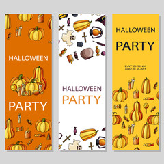 Happy Halloween poster design. Vector template with cartoon style symbols. Party invitation