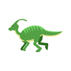 Cute cartoon green parasaurolof dinosaur, prehistoric and jurassic monster vector Illustration