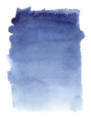 Simple indigo blue fading vertical gradient painted in watercolor on clean white background
