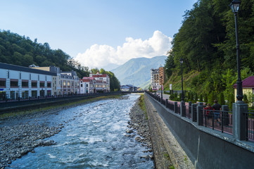 mountain river in the resort village of Rosa Khutor neighborhood of Sochi