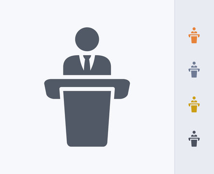 Businessman Holding Speech - Carbon Icons. A professional, pixel-aligned icon designed on a 32x32 pixel grid and redesigned on a 16x16 pixel grid for very small sizes.