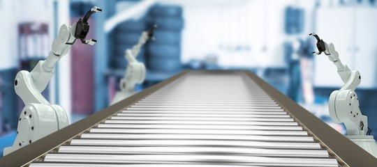 Composite image of 3d image of empty production line Wall mural
