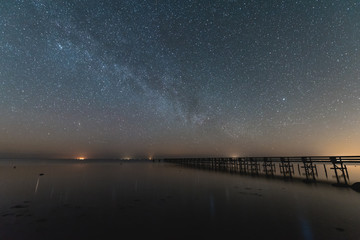 Milky way over water with a Pier