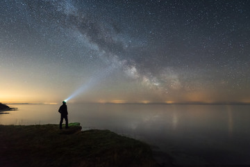 Man silhouette admiring the milky way