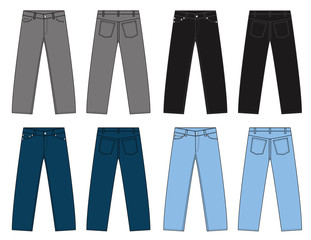 Illustration of slim denim pants  / color variations