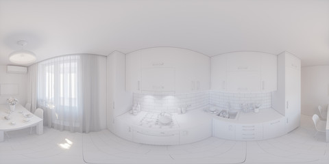 360 panorama of kitchen design. Seamless 3d illustration of interior design of kitchen in private apartment in white texture
