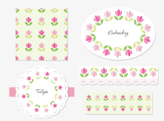 Embroidery floral decorative elements set.