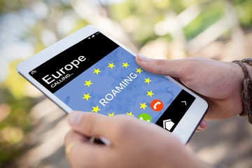 Composite image of roaming text and european union flag on